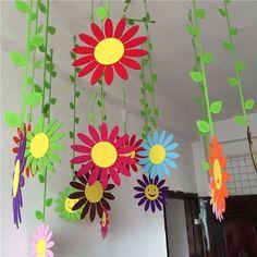 Floral Decor Handmade Cloth Sun Flower Wall Hanging Home Childs Room Garden Ball Decorations & Garden Kids Crafts, Preschool Crafts, Easy Crafts, Diy And Crafts, Arts And Crafts, Paper Crafts, Spring Art, Spring Crafts, Flower Mobile