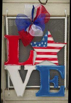 SALE Fourth of July LOVE Door Hanger Star Door by ArtByAudet