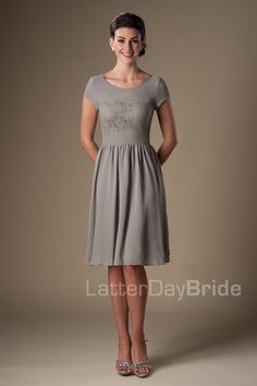 Modest Bridesmaid Dress from Latter Day Bride in a lovely gray that can be worn to any event!