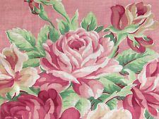 3YDS PINK Rarest 30's Shabby Cottage CHIC FALLING ROSES VTG Barkcloth Era Fabric