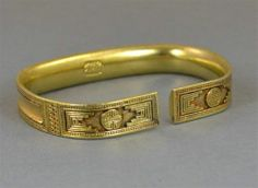 Antique Chinese Decorated Gold Gilt Silver SIGNED Bracelet ~ 52.4 Grams ~ Qing