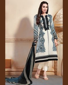 Cream and black pant style suit with embellished neckline   1. Cream and black lawn cotton suit2. Comes with matching bottom and dupatta3. Can be stitched upto bust size 42 inches