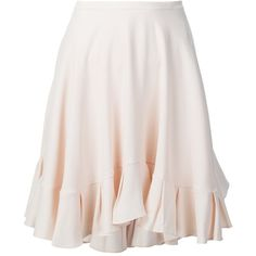 Chloé Ruffle Skirt (1,530 CAD) ❤ liked on Polyvore featuring skirts, mini skirts, bottoms, white, white short skirt, ruffle mini skirt, chloe skirt, flounce skirt and flouncy skirt