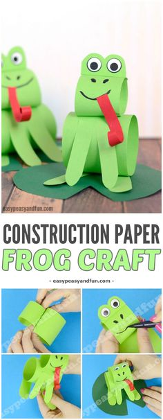 Construction Paper Frog Craft - Sitting on A Water Lily Leaf