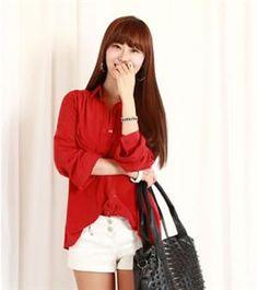 Korean Fashion Bright Color Soft Blouse