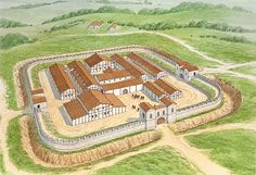 Small Roman fort at Hesselbach in CE 100 Brian Delf Fantasy Castle, Fantasy Map, Fantasy Places, Medieval Fantasy, Historical Architecture, Ancient Architecture, Ancient Rome, Ancient History, Architecture Romaine