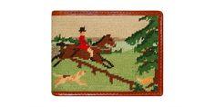 Fox Hunting Scene Needlepoint Bi-Fold Wallet