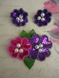 Sequin Earrings and Brooch by Catsandclover on Etsy, $18.00