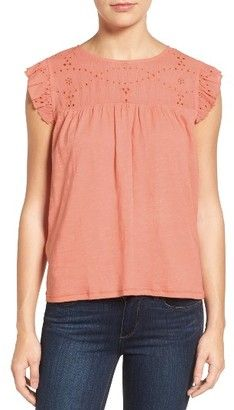 Shop Now - >  https://api.shopstyle.com/action/apiVisitRetailer?id=638380734&pid=uid6996-25233114-59 Petite Women's Caslon Eyelet Embroidered Flutter Sleeve Top  ...