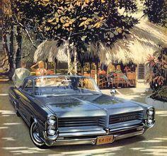 1964 Pontiac Bonneville Two Door Hardtop (The artwork of Art Fitzpatrick and Van Kaufman) Auto Illustration, Illustrations Poster, Vintage Cars, Antique Cars, Hot Rods, Automobile, Pontiac Cars, Pontiac Bonneville, Suv Cars
