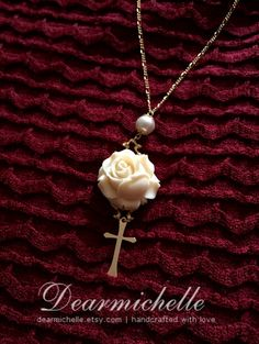 Rosenkreuzer - Victorian Style White Rose and Cross Gold-filled Necklace with Swarovski Pearls, Vintage Inspired Jewelry