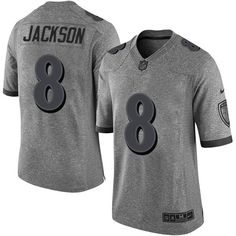34f5eda2b Nike Ravens  8 Lamar Jackson Gray Men s Stitched NFL Limited Gridiron Gray  Jersey
