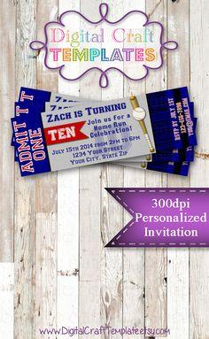 "Personalized Printable Invitations | Sports Party | Baseball | 2""x6"" Ticket Invitation | Birthday Party | #82"