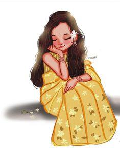 Cartoon Girl Images, Cartoon Girl Drawing, Cartoon Drawings, Cartoon Art, Indian Illustration, Watercolor Illustration, Girly Drawings, Art Drawings, Cute Girl Sketch