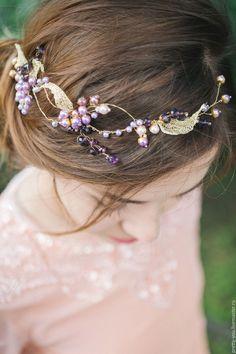Купить Свадебный венок для волос. Венок на голову. Украшение для невесты - тёмно-фиолетовый, венок из цветов