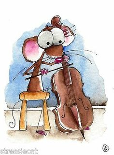 ACEO Original Watercolor Folk Art Whimsical Painting Mouse Chair Music Cello | eBay