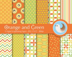 Papel Digital naranja y verde a juego - naranja papel Digital - papel Digital verde - naranja - de 12 papeles de Scrapbooking Digital