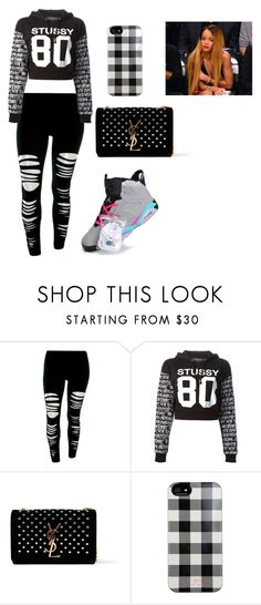 """""""just black"""" by qveen-12 ❤ liked on Polyvore featuring NIKE, Stussy, Yves Saint Laurent and Isaac Mizrahi"""