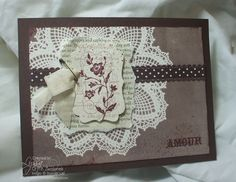 Brayered over doily background technique / 31 Days of Doilies blog series at Song of My Heart Stampers.