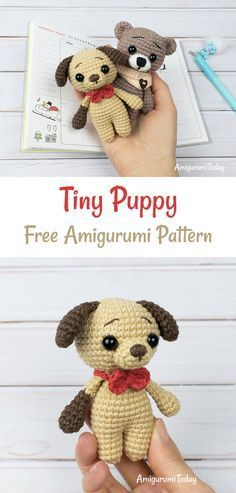 Tiny puppy pattern You never know when you will need a little friend so it is best to keep this amigurumi puppy nearby at all times! With the small stature of this amigurumi Crochet Animal Amigurumi, Crochet Amigurumi Free Patterns, Crochet Animal Patterns, Stuffed Animal Patterns, Amigurumi Doll, Crochet Animals, Crochet Dolls, Crochet Dinosaur, Amigurumi Tutorial