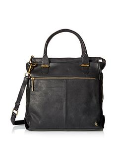 """www.myhabit.com  Soft leather tote boasts an inner zip and 2 slip pockets, 2 exterior zip pockets; 4.5"""" handle drop with optional adjustable shoulder strap"""