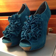 Turquoise\blue Pumps Very high heel for those courageous and sure footed ones who want all eyes to turn on them! They were too small. ): Worn once, like new. Charlotte Russe Shoes Heels