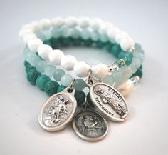 Archangels St Raphael St Michael + St Gabriel Bracelet Set Protection Safe Travel & Joyous Encounters gift jewelry catholic bracelets blue A