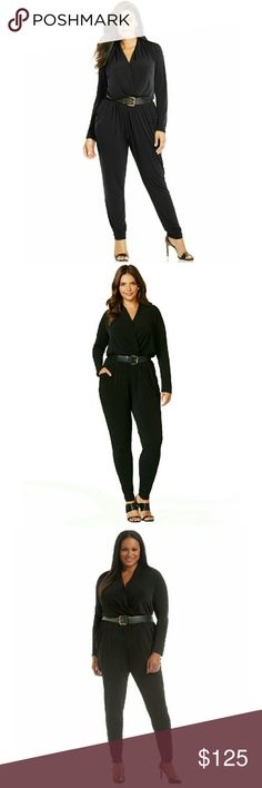 MICHAEL KORS Plus Size Jumpsuit Belted Long Sleeve Whether out for cocktails or out on the town, this plus size jumpsuit by MICHAEL Michael Kors is instantly glamorous and a great alternative to the Little Black Dress!  Stretch polyester fabrication boast