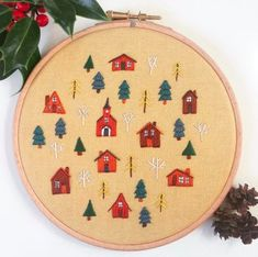 t takes a village.not quite ready to give up on the autumn colours just yet! Diy Embroidery Patterns, Hand Embroidery, Textile Art, Embellishments, Diy And Crafts, Cross Stitch, Take That, Textiles, Sewing