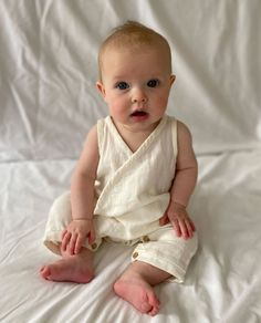 Evan Organic Cotton Baby Romper In Off White - Off White / 3-6 months