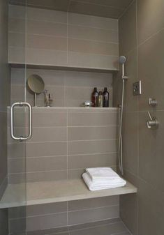 Bathroom , Great Bathroom Shower Ideas : Bathroom Shower Ideas With Horizontal Niche And Slab Bench Seat