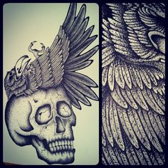 skull and raven ink drawing by me (kristi richards, woundedknee84 on etsy)