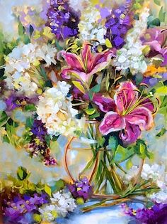 Artists Of Texas Contemporary Paintings and Art - Dream Seeker Stargazers and Hill Country Wildflowers by Nancy Medina