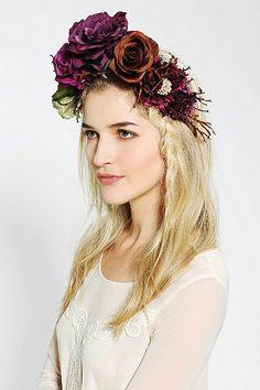 Katie Burley Millinery Woodland Queen Flower Crown Headwrap (Day of the dead costume)