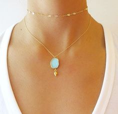Aqua Druzy Gold Necklaces