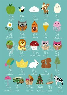 NEW A3 Size cute animals   nursery print by GreenNest on Etsy