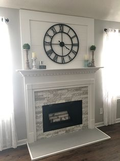 The stone on the sides are just stacked. Just wanted to give you an update on our fireplace remodel with AirStone in Birch Buff! I am so happy with the outcome! Family Room Fireplace, Brick Fireplace Makeover, Farmhouse Fireplace, Home Fireplace, Faux Fireplace, Fireplace Remodel, Fireplace Design, Fireplace Mantels, Airstone Fireplace