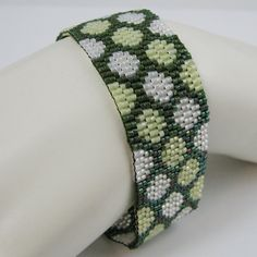 Going Dotty in the Spring Time Peyote Cuff Bracelet (2576) - A Sand Fibers Creation