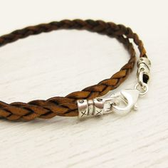 Natural Brown Eco Friendly Braided Leather Wrap Unisex by byjodi, $39.00