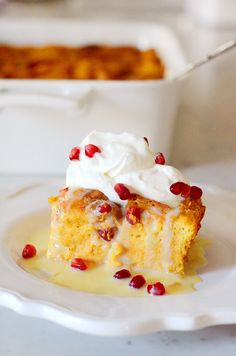 ... Bread Pudding with White Chocolate Creme Anglaise and Bourbon Whipped