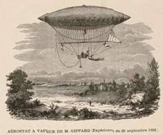 History of the Airship - Henri Giffard -  Credit for the construction of the first navigable full-sized airship goes to French engineer, Henri Giffard, who, in 1852, attached a small, steam-powered engine to a huge propeller and chugged through the air for seventeen miles at a top speed of five miles per hour.