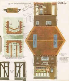 Toys and Stuff: Kellogg's UK Paper Village Sheet 3 Pt 5 - Butcher's Shop & School Store