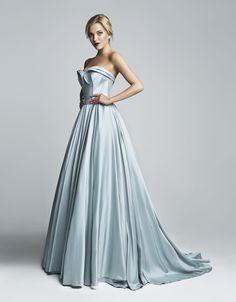 Grey Silk Faille Ball Gown