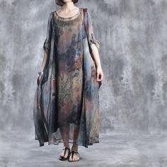 Verano de las mujeres del vestido largo de la gasa de la manga
