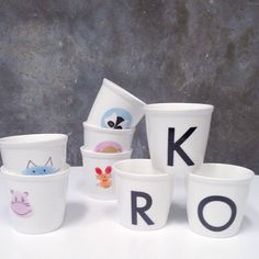Cups with Letters by Sostrene Grene