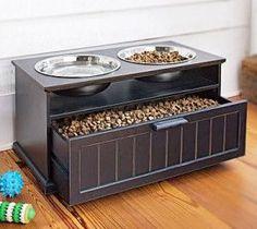 Dog-Food-Storage-Drawer-with-Raised-Bowls Dog Food Bowl Stand, Dog Food Stands, Dog Food Bowls, Wood Dog Bowl Stand, Dog Food Bin, Elevated Dog Bowls, Raised Dog Bowls, Raised Dog Feeder, Dog Feeding Station