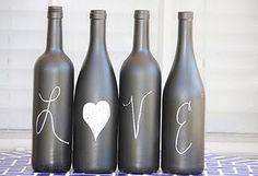 Remove the labels from four wine bottles and spray them silver paint then write Love in white chalk. These would look really good on top of a kitchen shelf. This is a much nicer display than the tacky, typical display of rows of empty liquor bottles a lot of 20-somethings place on their kitchen shelves.
