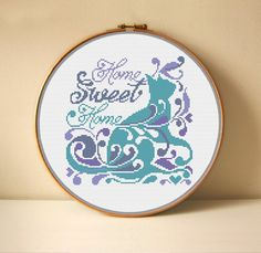 Cross Stitching, Cross Stitch Embroidery, Cross Stitch Patterns Free Easy, Cross Stitch Silhouette, Sweet Home, Cross Stitch Quotes, Types Of Stitches, Things To Sell, House Blessing