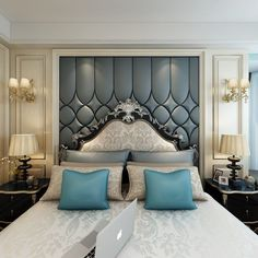 30 Modern Bedroom Headboard Ideas – Home Decor İdeas Modern Luxury Bedroom Design, Master Bedroom Design, Home Decor Bedroom, Modern Bedroom, Interior Design, Master Suite, Bedroom Classic, Master Bedrooms, Small Bedrooms