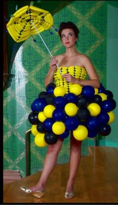 Yellow and Blue Balloon Dress